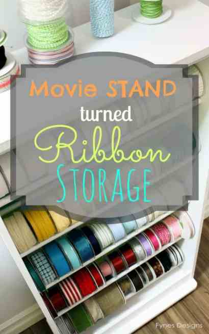 DIY Ribbon Storage Rack Tutorial featured by top US craft blog, FYNES DESIGNS: What a great way to repurpose that old VHS movie stand