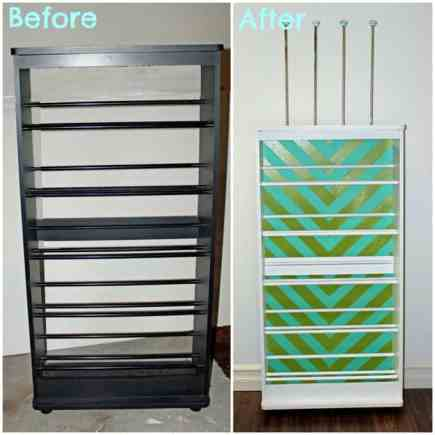 before and after VHS stand to ribbon organizer
