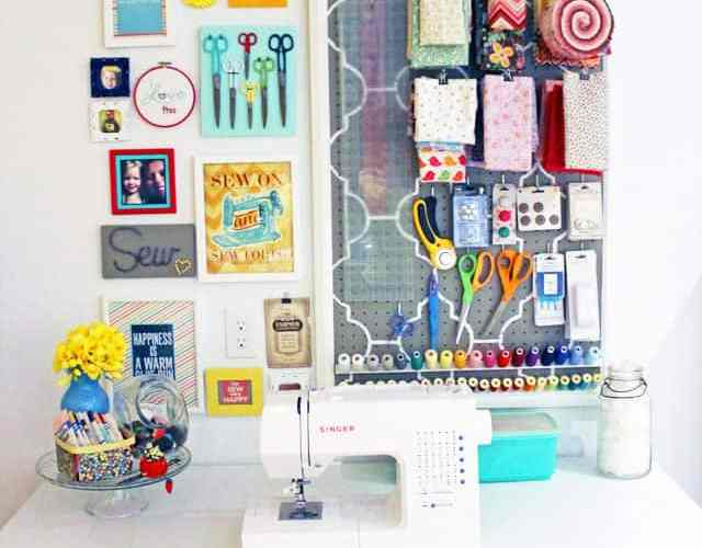 Sewing station gallery wall by Fynes Designs.com