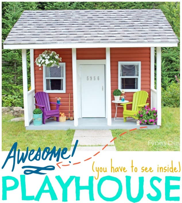 The interior of this playhouse is super cute!