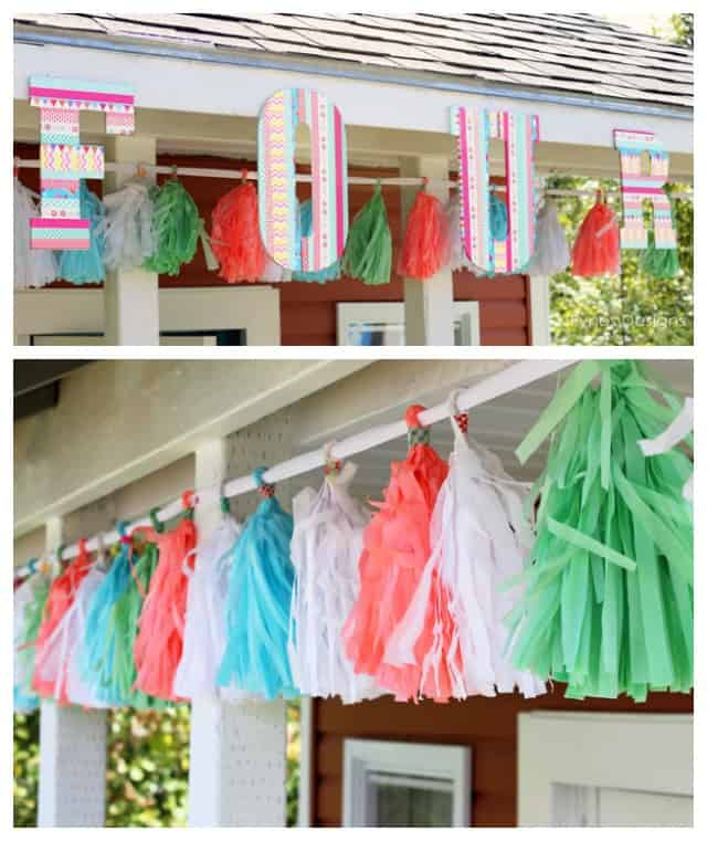 Washi- tape letters with a tissue paper garland