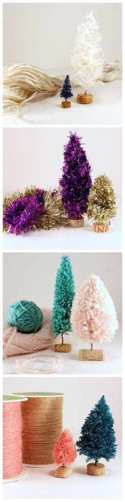 DIY bottle brush tree tutorial, featured by top US craft blog, Fynes Designs: Tutorial for creating rope, garland, yarn and twine, bottle brush trees |Bottle Brush Tress by popular Canada DIY blog, Fynes Designs: collage image of bottle brush trees.