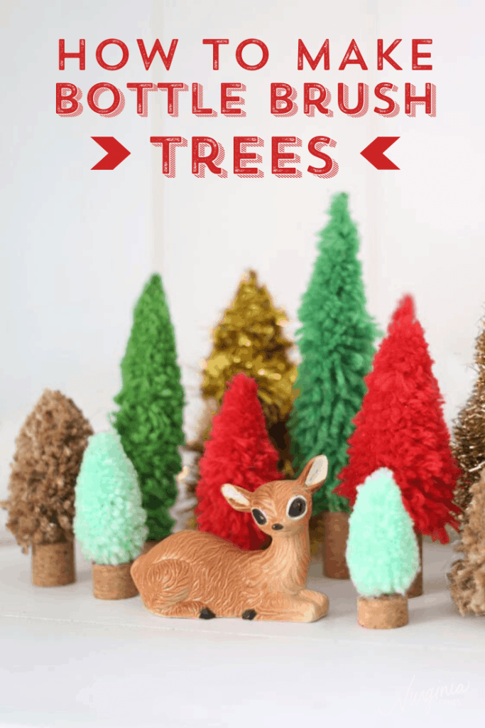 Learn to make bottle brush trees with this easy step by step tutorial. | Swag Wreath by popular Canada DIY blog, Fynes Designs: Pinterest image of bottle brush trees.
