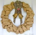Burlap Wreath with Vintage Bells-12 Days of Door Decor- Day#2-