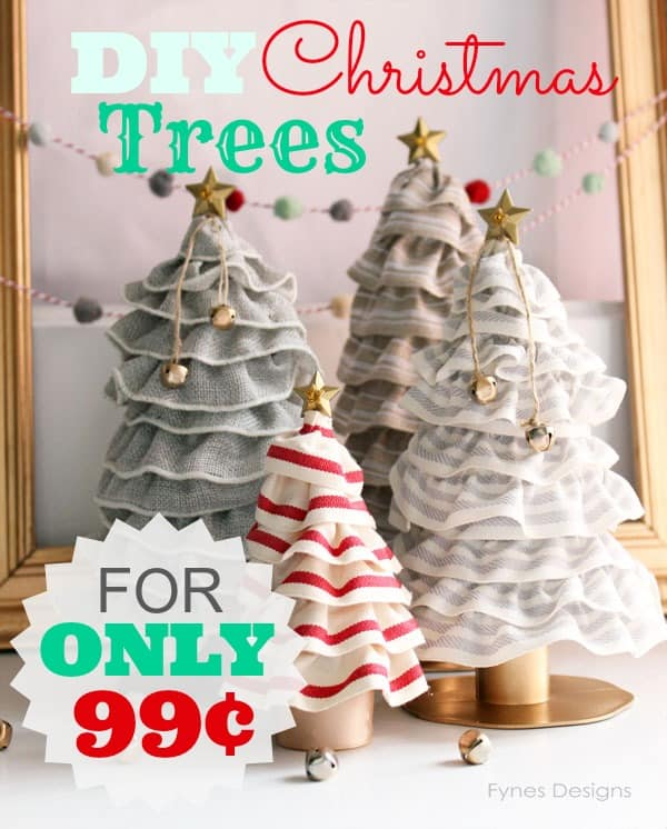 DIY Christmas Tree Cones- For ONLY 99¢! You'll never guess how easy these are! A MUST see!! | a tutorial featured by top US craft blog, Fynes Designs |Bottle Brush Tress by popular Canada DIY blog, Fynes Designs: image of burlap ribbon trees.