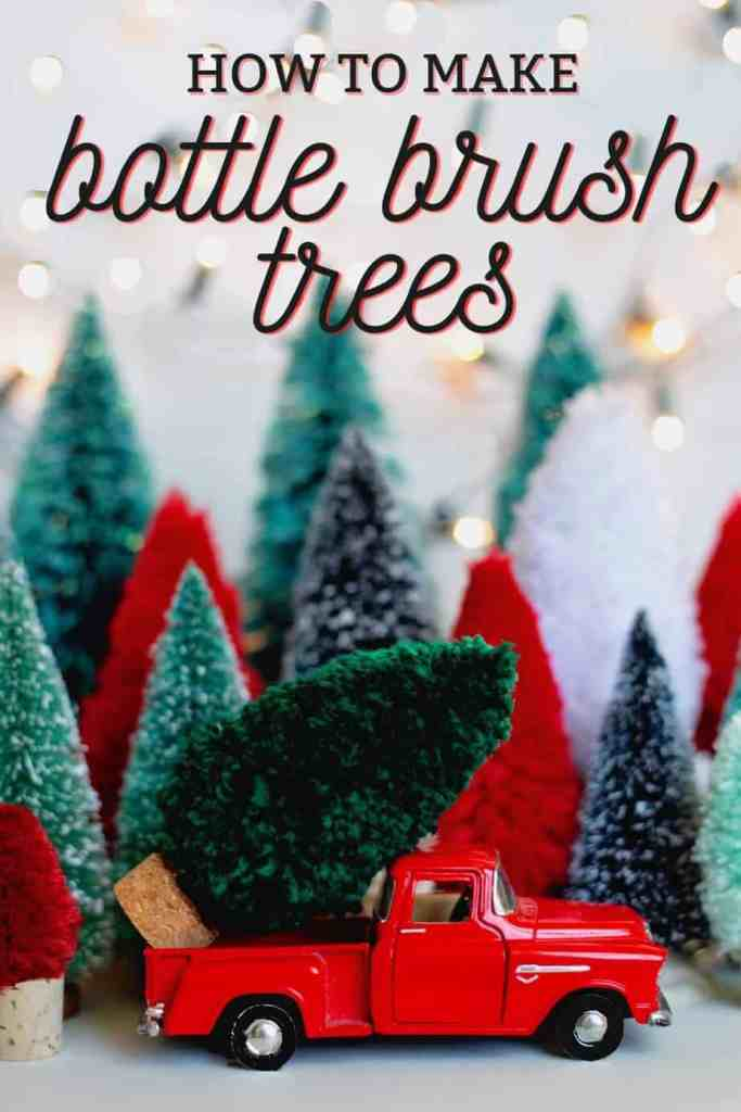 Get everything at the dollar store to make these fun Christmas trees |Joy Sign by popular DIY Canada blog: Pinterest image of bottle brush pine trees.