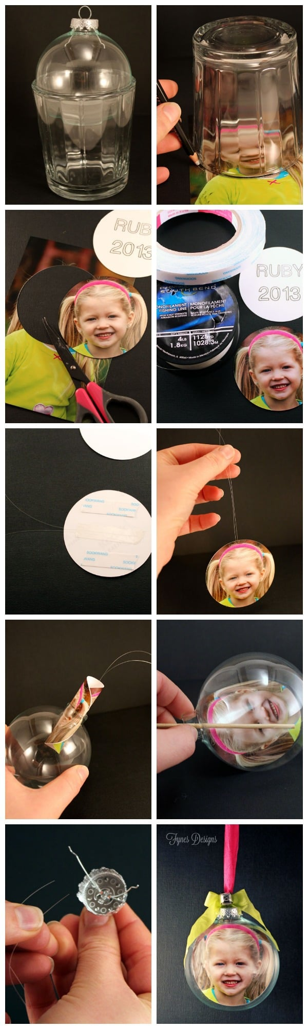 DIY Glass Photo Ornament, a tutorial featured by top US life and style blog, Fynes Designs:DIY personalized Glass Photo Ornaments. Make the perfect keepsake or gift! |Photo Ornaments by popular Canada DIY blog, Fynes Designs: collage image of a woman making DIY photo ornaments.