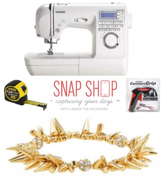 Christmas gift ideas for a DIY woman- Click to see 50 Christmas Gift ideas for Crafty women   Craft Gifts by popular Canada lifestyle blog, Fynes Designs: collage image of a FatMax measuring tape, Brother sewing machines, gold spike bracelet, and Rustoleum Comfort Grip.