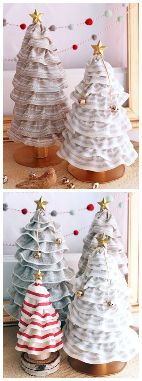 beautiful Christmas tree decorations. Create these cute cones for only 99¢! |  Christmas Tree Cone by popular Canada DIY blog, Fynes Designs: image of DIY Christmas tree cones.
