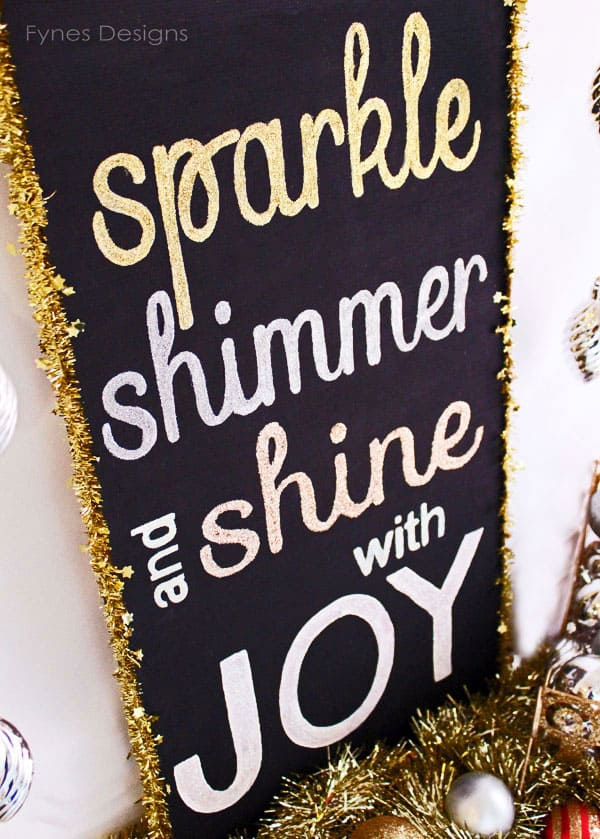 Painted Glitter Holiday Sign
