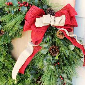 Red and natural burlap bow from May Arts ribbon