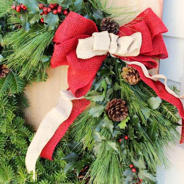 Red and natural burlap bow from May Arts ribbon