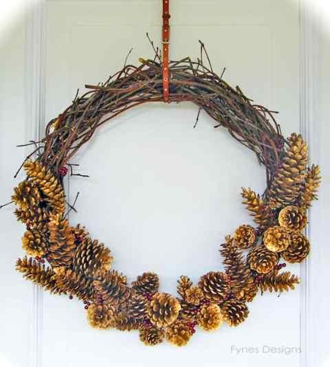 Handmade twig and pinecone wreath