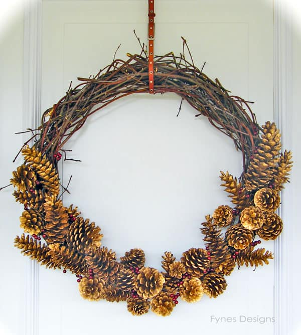 Day #10- Twig and Pinecone Wreath- 12 Days of Door Decor