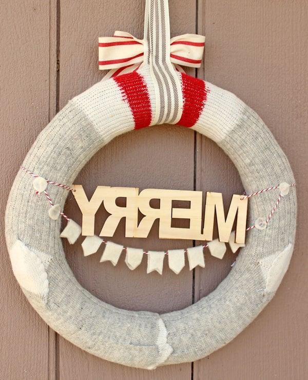 Back side of wool sock wreath