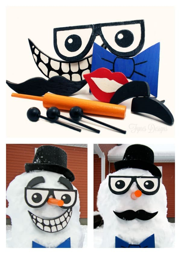 DIY Snowman kit pieces. Think of all the funny combinations the kids can make!