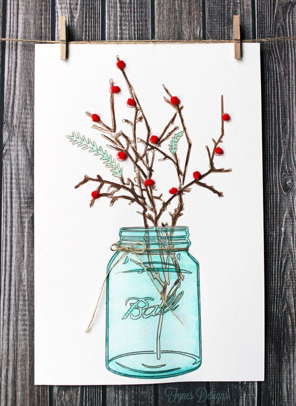 Holly in A Mason Jar Watercolour Painting