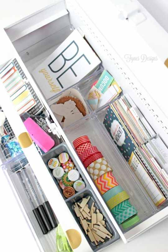 An old tool box turned into project life organization from fynesdesigns.com #scrapbooking #projectlife #crafts #papercrafts #washitape #craftroom #organize #craftstorage