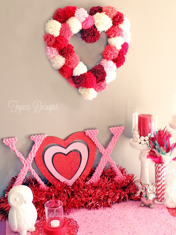 How to make a heart shaped wreath for only $2, a craft featured by top US craft blog, FYNES DESIGNS: sweet Valentines vignette- tutorial for making a heart wreath form