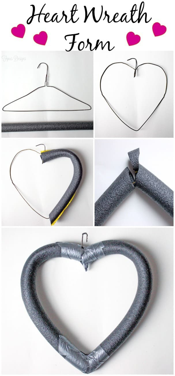 Cheap and Easy heart shaped wreath form from fynesdesigns.com