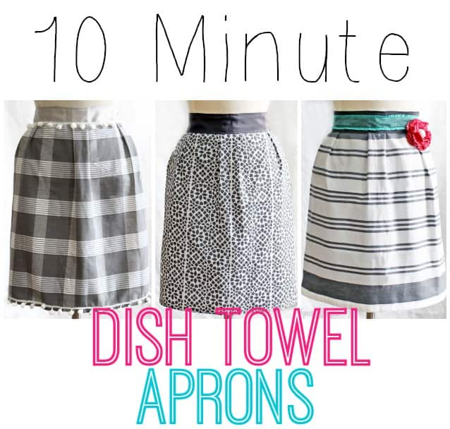 """1 dish towel, 85"""" of ribbon, and 10 minutes of your time! Makes a cheap and easy gift! #apron #kitchen #sewing #beginner, tutorial featured by top US craft blog, Fynes Designs"""