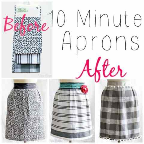 Make these cute aprons from dish towels! Great beginner project! via fynesdesigns.com