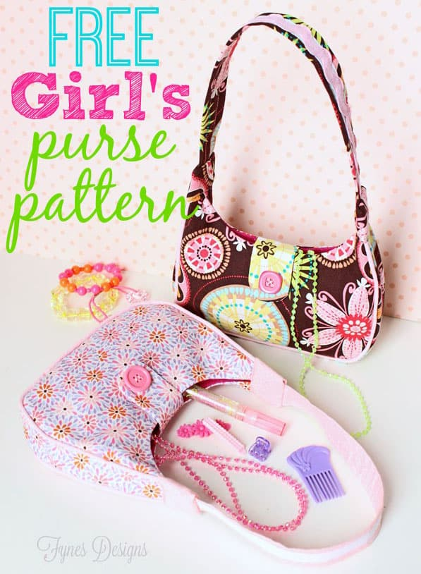 FREE little girl purse pattern featured by top US sewing blog, Fynes Designs | Sewing Pattern Freebie from fynesdesigns.com