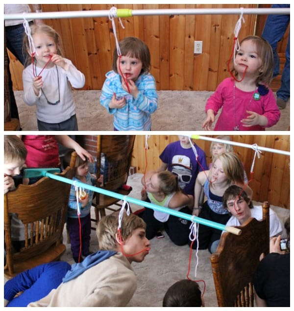 Fun and Cheap Easter Party Games: Easter Olympics featured by top US life and style blog, Fynes Designs: licorice eating contest