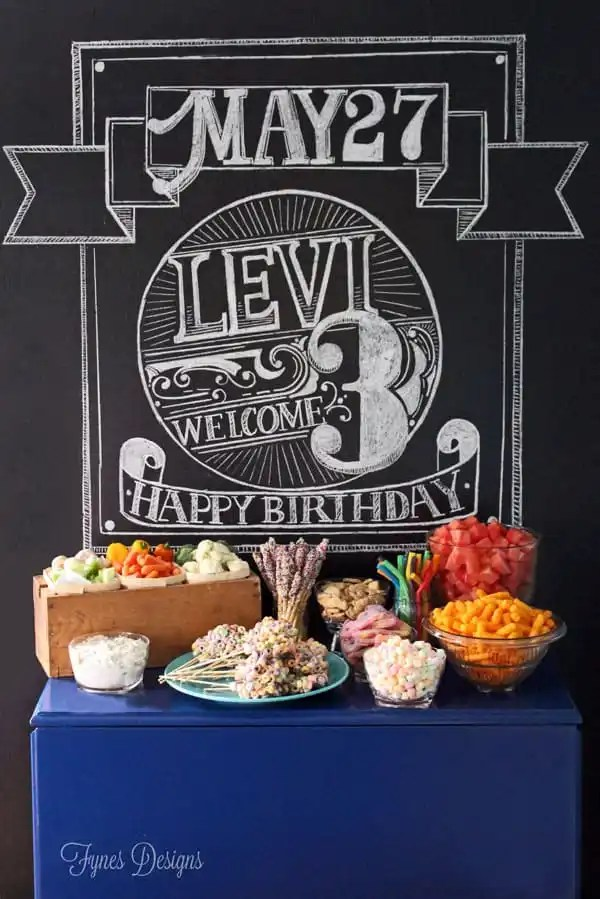 Chalkboard food table backdrop for a birthday party