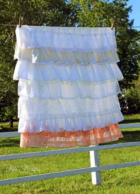 DIY vintage lace ruffled tablecloth from fynesdesigns.com
