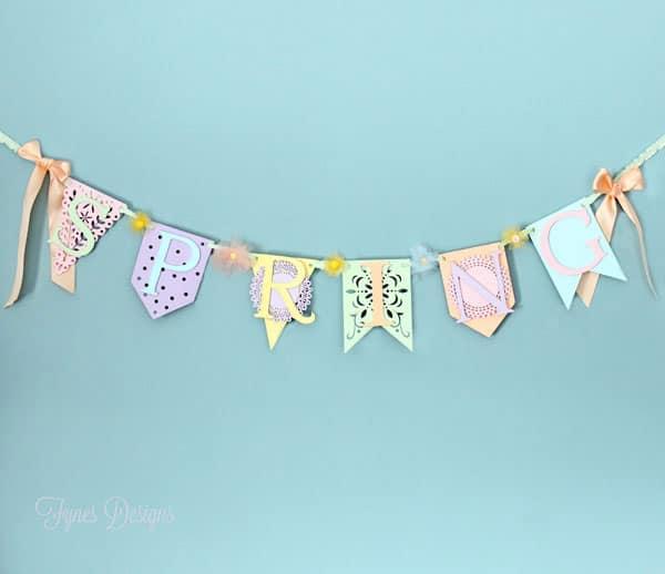 Sweet Pastel Wood Veneer Spring Banner