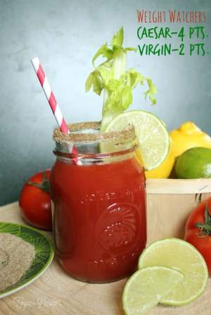 Top 10 Low Point Yummy Weight Watchers Snacks featured by top US life and style blog, Fynes Designs: The most delicious Caesar drink recipe. Low in Weight Watchers points plus