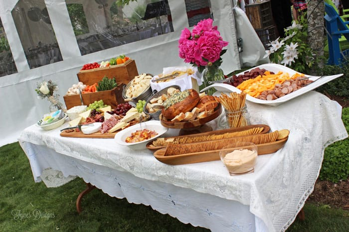 catering appetizer table from Virginia Fynes Catering