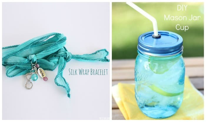 Silk Wrap Braclet How To from The DIY Dreamer  DIY Mason Jar Cups from My Frugal Adventures