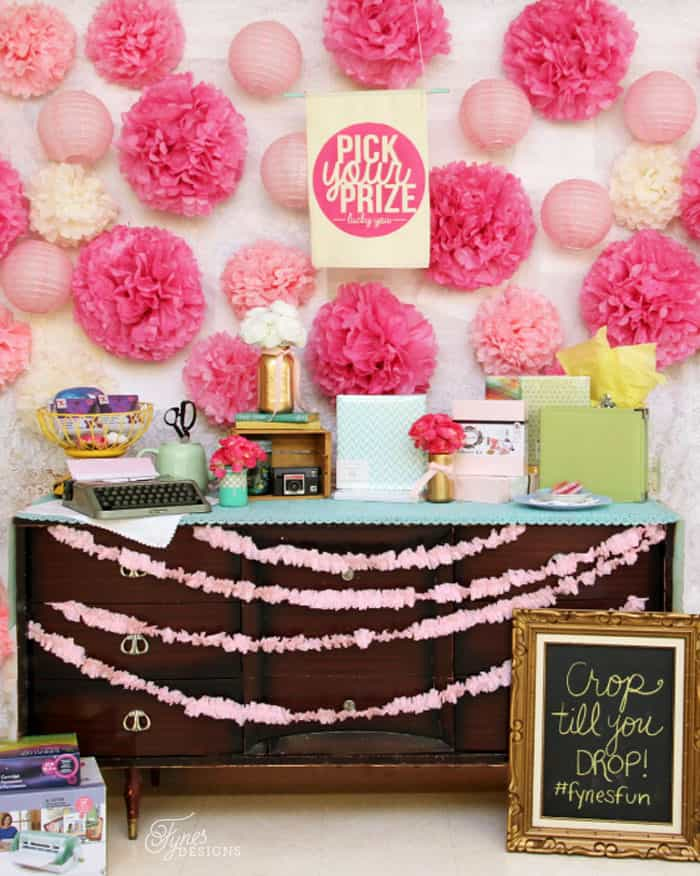 Craft event prize table. Learn how to use Fabric paint with this easy tutorial #Silhouette