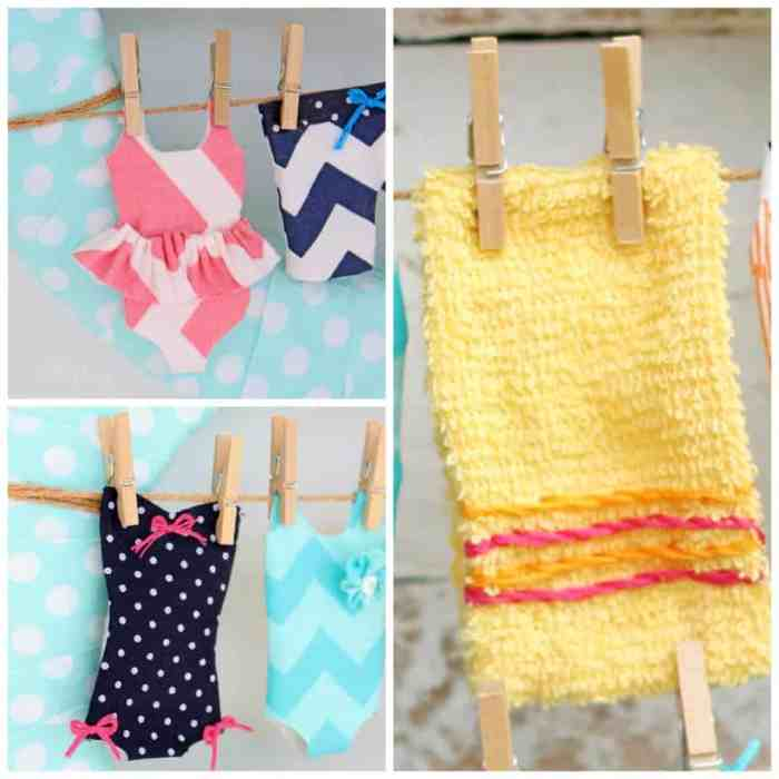 Sew tiny swimsuits for a summer wreath. Cut a facecloth to use as a small towel