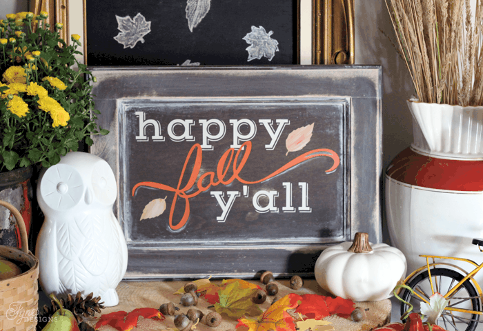 Happy Fall Y'all Painted sign.