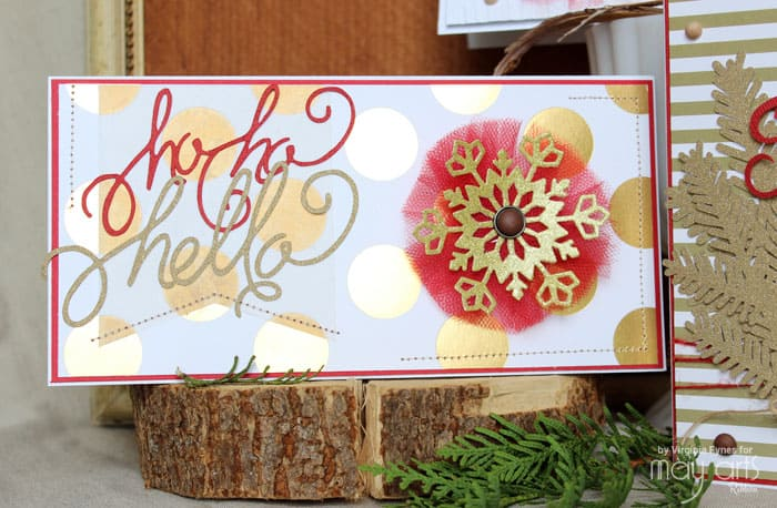 Red and Gold Christmas cards plus FREE Christmas Phrase Silhouette Cut Files
