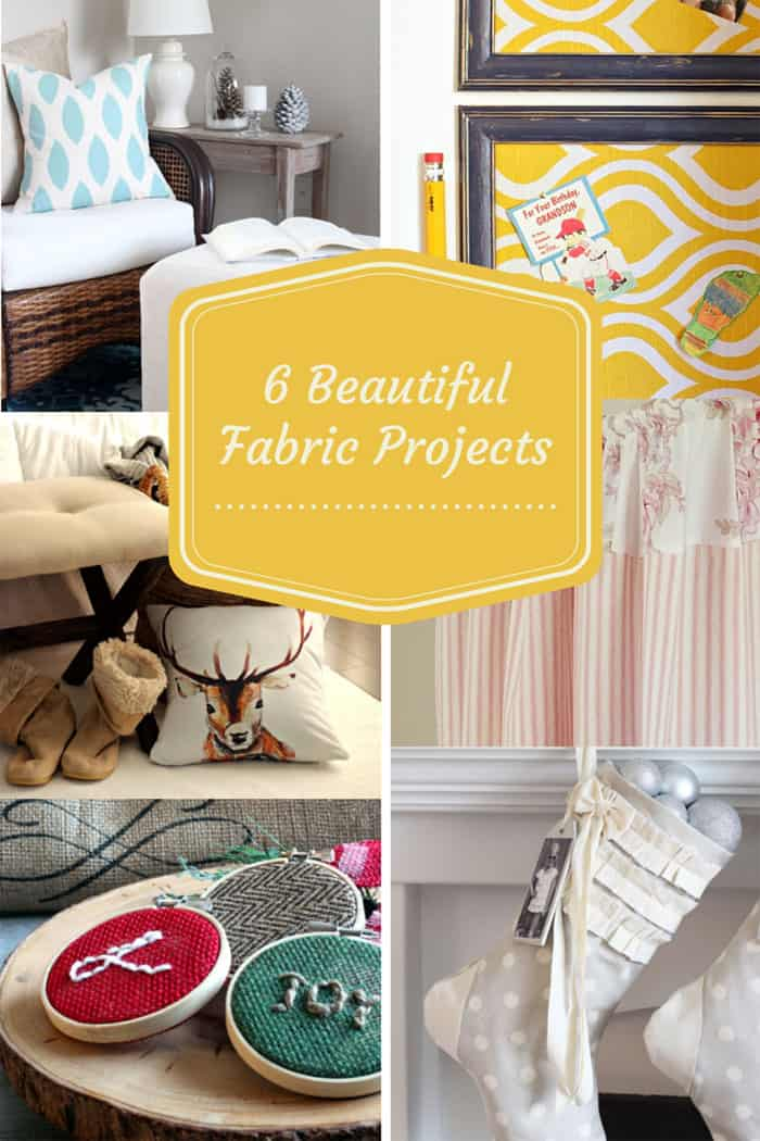 6 beautiful fabric projects #oneitemchallenge  DIY Personalized Christmas Stockings by popular Canada DIY blog, Fynes Designs: Pinterest image of various fabric projects.