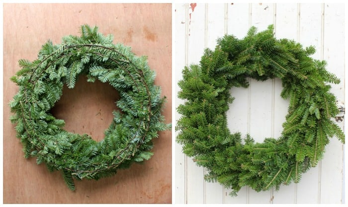 natural Christmas wreath front and back