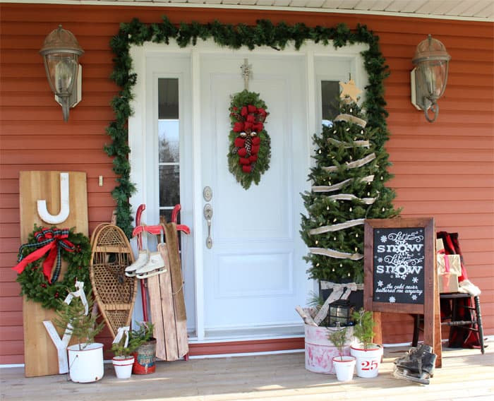 """Front porch decor with Free """"Let it Snow"""" Silhouette Cut file"""