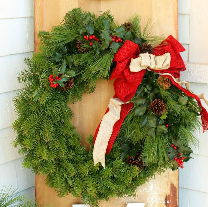 natural Christmas wreath tutorial easy to follow step by step directions