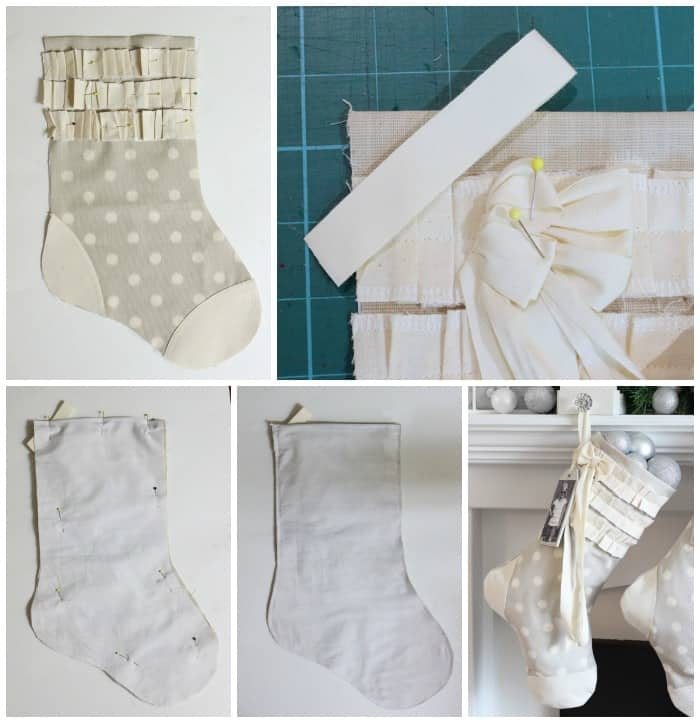 How to make handmade Christmas stockings |DIY Personalized Christmas Stockings by popular Canada DIY blog, Fynes Designs: collage image of a grey and white stocking being assembled.