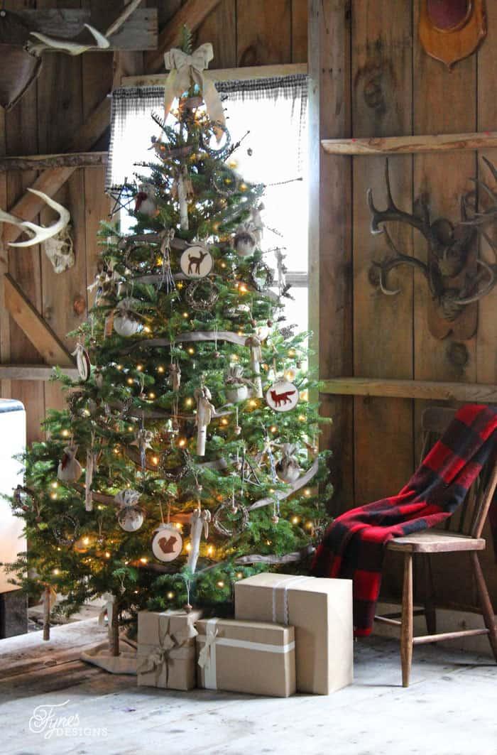 Rustic Christmas hunting lodge