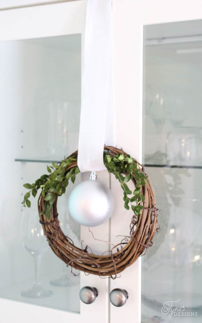 Simple Christmas wreaths for cabinet doors