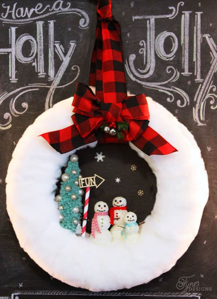 Fur holiday snowman wreath