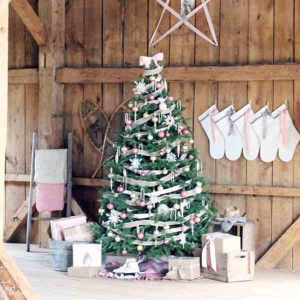 feminine pink vintage Christmas