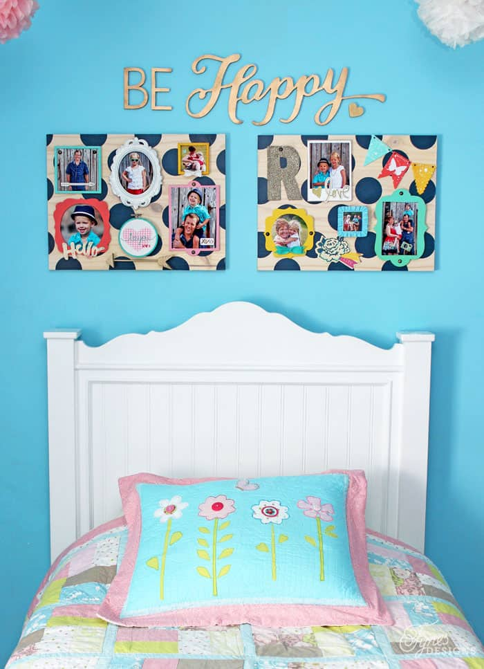 Fun Mini Gallery wall in a girls bedroom