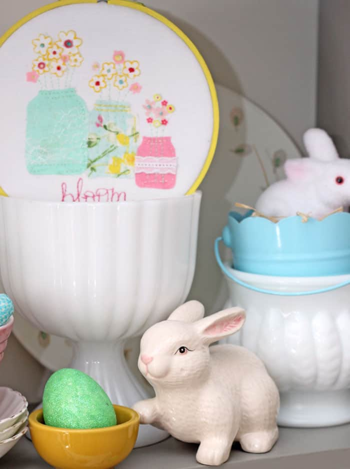 Spring Hoop Art on a bright and colourful Easter Hutch
