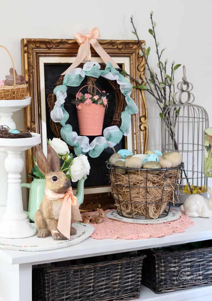 Easter vignette decorations and ribbon grapevine wreath